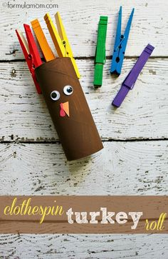 Clothespin Turkey Craft with toilet paper tubes
