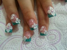 green french manicure with a flower.  Love