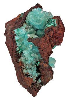 Calcite included by Aurichalcite - $ 900 Ojuela Mine, Mapimi, Durango, Mexico small cabinet, 8.5 x 5.3 x 3.9 cm