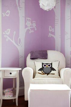 Love the adorable #owl pillow  #purple #nursery