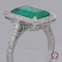 deco emerald ring