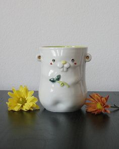 Chipmunk Cup/Vase Yellow Green by KPCeramics on Etsy, $25.00