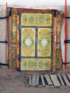 Painted yurt door. Mongolia