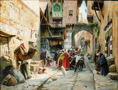 """A Street Scene, Damascus"" by Gustav Bauernfind (includes self-portrait inside the gathered throng of onlookers)"