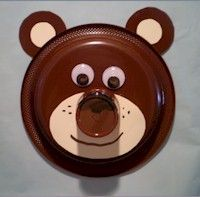 face paper, bear crafts preschool, kid craft, paper plates