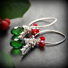 Holly Leaf Earrings, Sterling Silver Holly Charm, Red Swarovski Crystal, Green Swarovski Crystal Wire Wrapped Teardrop, Christmas Jewelry on Etsy, $32.00