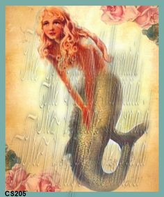 mermaid fabric, chic mermaid, block mermaid, shabby chic, advertis anyth, gorgeous shabbi, mermaid quilt, fabric art, fabric shop