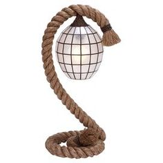 """Rope-inspired table lamp.      Product: Lamp  Construction Material: Plant material  Color: Tan and white  Accommodates:  (1)  Bulb - not included  Dimensions: 26"""" H x 12"""" W"""