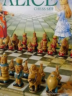 Alice In Wonderland Hand Decorated Theme Chess Set - Including Fully Illustrated Chess Board $187.00