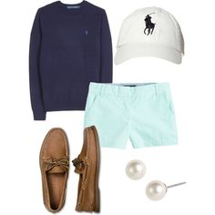 Polo long sleeve t-shirt + J.Crew chino shorts + Sperrys