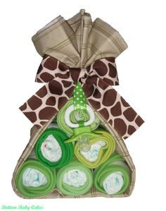 Baby Gift Boy Safari Stork Bundle Baby Diaper by BottomBabyCakes, $15.95