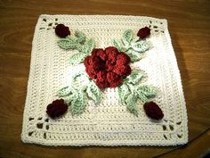 Ravelry: RosesNLace's Rose in Winter afghan block winter afghan, afghan patterns, afghan block, bouquets, diy craft, crochet blanketsafghansthrow, diy idea, crochet rose afghan, rosesnlac rose