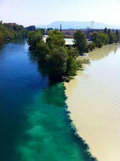 Geneva, Switzerland - Junction of the Rhone & Arve Rivers.