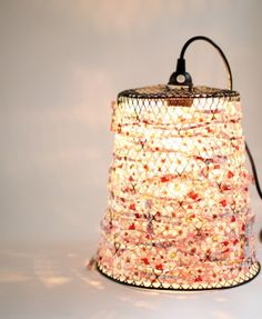 waste bin lamp pendant lamps, lighting, light fixtures, diylight, lampshad, pendant lights, wire baskets, fabric scraps, diy light
