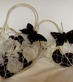 Bridesmaid/ Flower Girl Silver Wire baskets butterfly and petals/ ribbon included but can be easily changed should you wish. £15 for both
