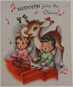 Lovely vintage Rudolph the Red Nosed Reindeer Christmas card. #rudolph