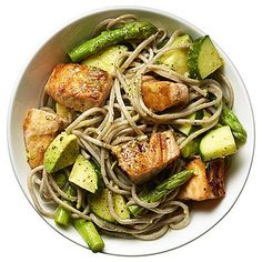 Salmon Noodle Bowl: This 30-minute fat-burning #recipe features #salmon and #avocado, which are loaded with healthy fats, and the noodles and veggies are high in fiber. | Health.com