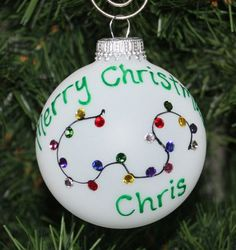 Handpainted Christmas Lights Personalized Ornament the Lights are made using Swarovski Rhinestones.