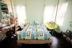 Hanging bed interior design, hang bed, hanging beds, bed designs, kid rooms, decorating bedrooms, hous, bedroom designs, bed idea