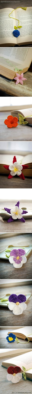 crochet flowers, flower bookmark, gift ideas, book markers, crocheted flowers