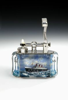 Queen Mary 'Aquarium' table lighter by Alfred Dunhill, c. 1950 | From a unique collection of antique and modern tobacco accessories at http://www.1stdibs.com/furniture/more-furniture-collectibles/tobacco-accessories/