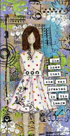 Serendipity Girl Art Mixed Media Collage Canvas. $34.99, via Etsy.