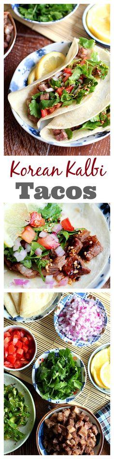 Korean kalbi (BBQ beef short rib) tacos. Amazing tacos with tender, juicy and the most delicious Korean kalbi   rasamalaysia.com