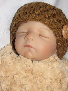 Baby Boy Hat Photo Prop  Newborn Brown Beanie with by pixieharmony, $14.95
