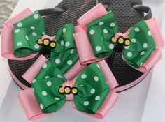 Pink and Green Tractor Flip Flop Set and Matching by bowsforme, $21.99