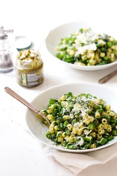 Five Ingredient Simple Green Pasta Salad - basil, olive oil, garlic, and lemon juice flavor this fresh, yummy, simple summer dish!   pinchof...