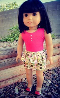 How to Make Peplum Skirt for American Girl Dolls | Free Sewing Pattern for American Girl Dolls Skirt Tutori, Peplum Skirt, Doll Clothes Patterns, Skirt Patterns, Diy Crafts, Doll Skirt, American Girl, Ag Doll, Sewing Patterns