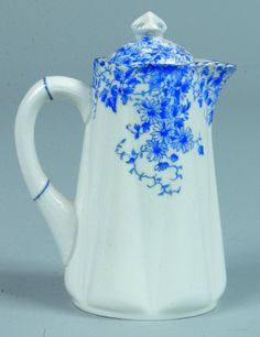 Shelley China Dainty Blue pattern Syrup with Cover bluewhit dish