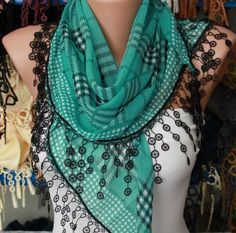 Mint Plaid  Scarf   Cotton Scarf Headband Necklace by fatwoman, $15.00