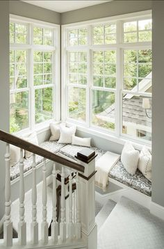 Interior Design By Martha O'Hara Interiors - Home Bunch - An Interior Design & Luxury Homes Blog Lights, Window Benches, Interior, Stair Landing, Stairs, Stairway, Reading Nooks, Sitting Areas, Window Seats