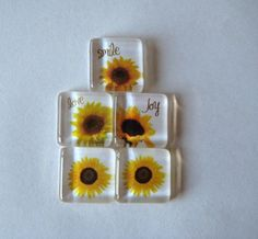 Fun Sunflower Square Glass Magnets Set of 5 by CardsandNotes, $6.50 for glass, magnets, adhesive: http://www.ecrafty.com/c-81-craft-supplies.aspx
