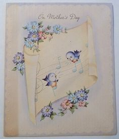 A darling bluebird filled Mother's Day greeting. #cute #vintage #Mothers_Days #holidays #cards