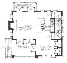 Houseplans.com Southern Main Floor Plan Plan #464-9