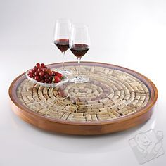Wine Cork Lazy Susan Kit. I've got enough corks to make 3! Just gotta get me one of these!  #WineEnthusiast