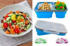 Quinoa salad and collapsable containers- 9 Healthy Lunch Trends for Kids, From Paleo to Pocket Pasta - ParentMap