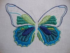 Embroidered butterfly in progress ... beautiful.