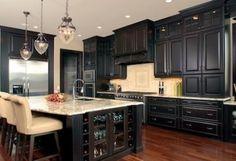 color, black cabinets, black kitchens, kitchen ideas, light, kitchen trends, kitchen islands, dream kitchens, kitchen cabinets