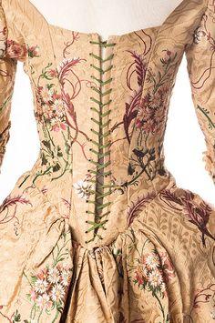 English silk brocade dress, 1789