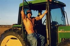 tractor sexi, cowboy, tractors, farmer, country boys, countri boy, hot, green tractor, men