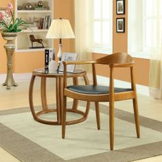 Tracy Wood Dining Chair with Faux Leather Seat