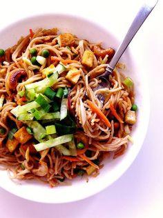 Thai Peanut Noodles With Fried Tofu and Cashews (vegan + GF)