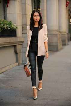 fashion style, blazer, street style, heel, outfit, leather pants, leather leggings, shoe, blush