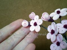 Quilled Cherry Blossom Branch Detail