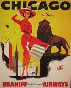 Vintage Braniff Airlines Poster CHICAGO