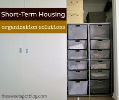 Short-Term Housing: Organization by The Sweet Spot Blog  http://thesweetspotblog.com/short-term-housing-organization/ #organizing #elfa #closet #decor