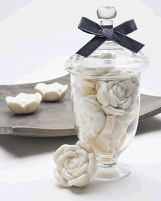 Divinely pretty gardenia soap in an apothecary jar.